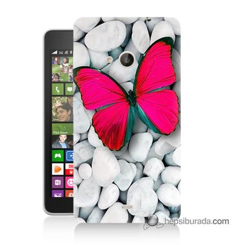 Teknomeg Nokia Lumia 535 Kapak Kılıf Kelebek Baskılı Silikon