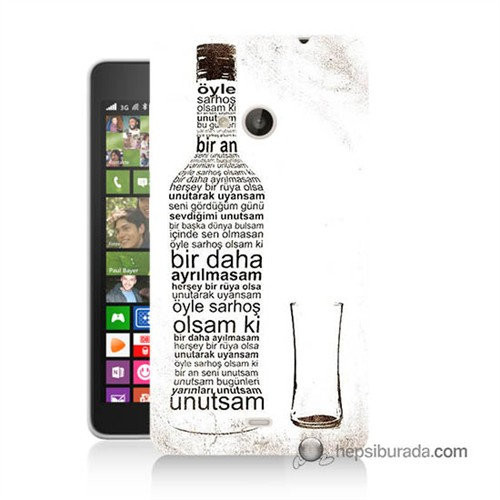Teknomeg Nokia Lumia 535 Kapak Kılıf Rakı Şişesi Baskılı Silikon
