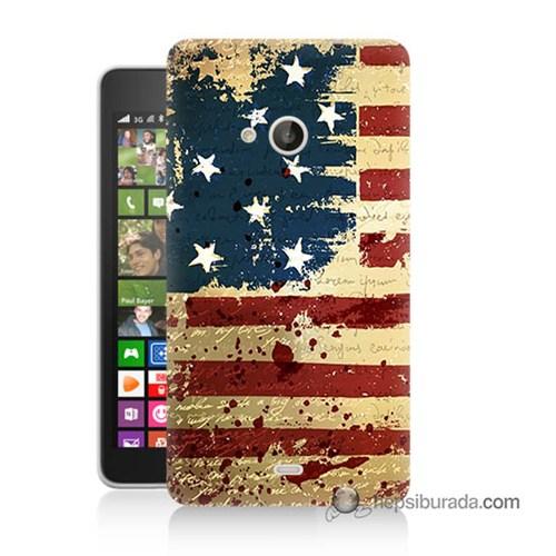Teknomeg Nokia Lumia 535 Kılıf Kapak Amerika Bayrağı Baskılı Silikon