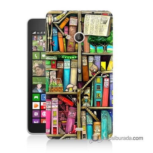 Teknomeg Nokia Lumia 535 Kapak Kılıf Kitaplık Baskılı Silikon