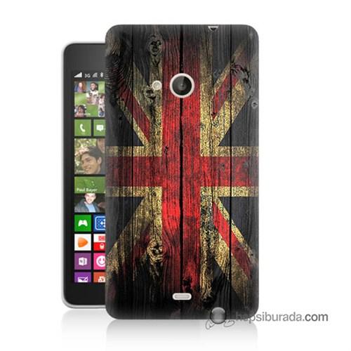 Teknomeg Nokia Lumia 535 Kapak Kılıf İngiliz Bayrağı Baskılı Silikon