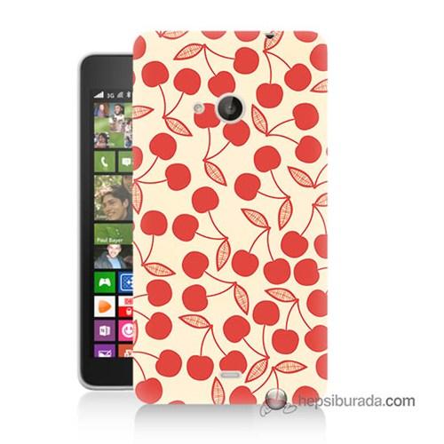 Teknomeg Nokia Lumia 535 Kılıf Kapak Kiraz Mevsimi Baskılı Silikon