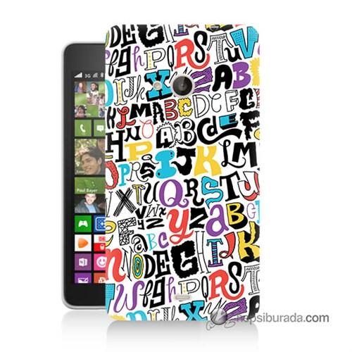 Teknomeg Nokia Lumia 535 Kılıf Kapak Renkli Harfler Baskılı Silikon