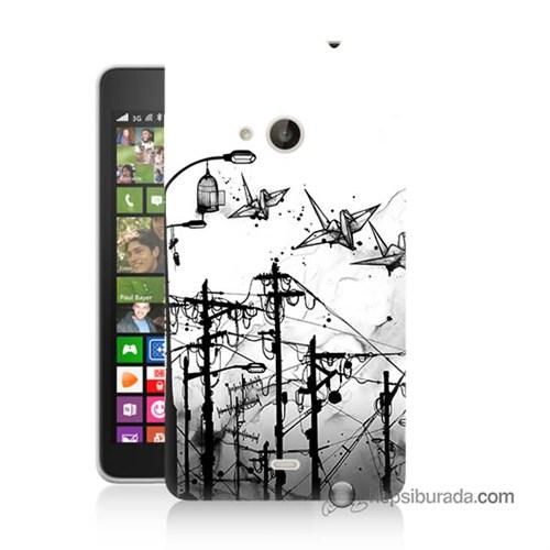 Teknomeg Nokia Lumia 535 Kapak Kılıf Origami Baskılı Silikon