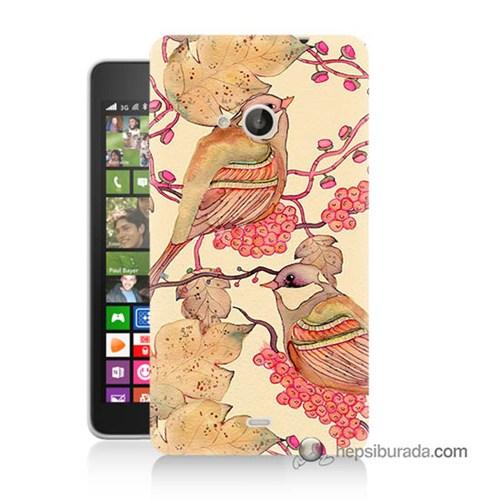 Teknomeg Nokia Lumia 535 Kılıf Kapak Kuşlar Baskılı Silikon