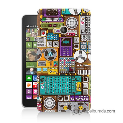 Teknomeg Nokia Lumia 535 Kılıf Kapak Teknoloji Baskılı Silikon
