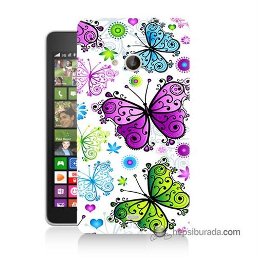 Teknomeg Nokia Lumia 535 Kapak Kılıf Renkli Kelebekler Baskılı Silikon