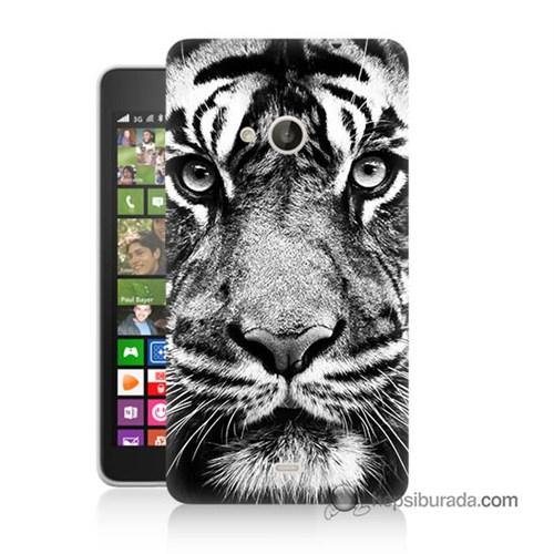Teknomeg Nokia Lumia 535 Kapak Kılıf Kaplan Baskılı Silikon