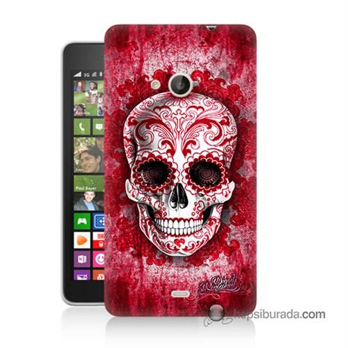 Teknomeg Nokia Lumia 535 Kılıf Kapak Kırmızı İskelet Baskılı Silikon