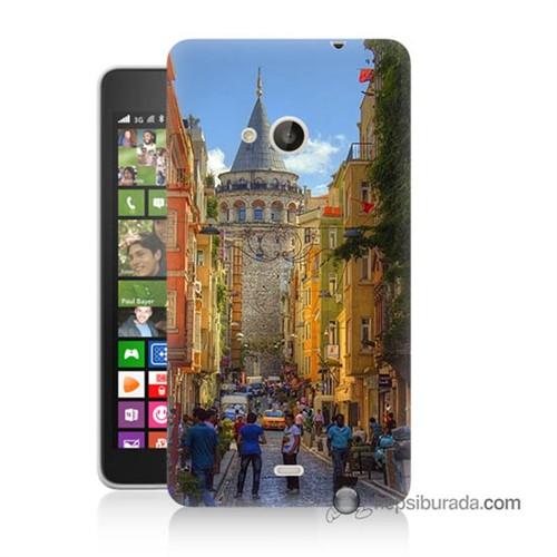 Teknomeg Nokia Lumia 535 Kapak Kılıf Galata Kulesi Baskılı Silikon