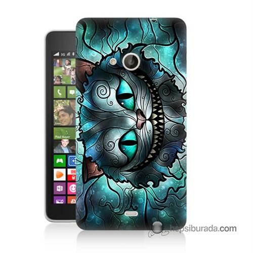 Teknomeg Nokia Lumia 535 Kapak Kılıf Alice Kedi Baskılı Silikon
