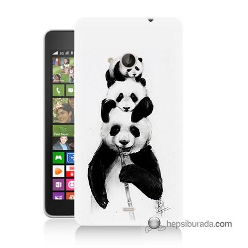 Teknomeg Nokia Lumia 535 Kapak Kılıf Panda Ailesi Baskılı Silikon