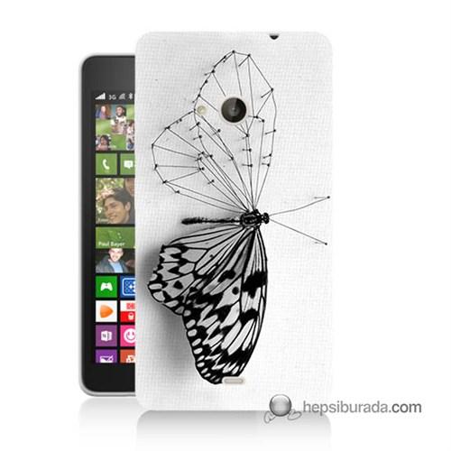 Teknomeg Nokia Lumia 535 Kapak Kılıf Kanatsız Kelebek Baskılı Silikon