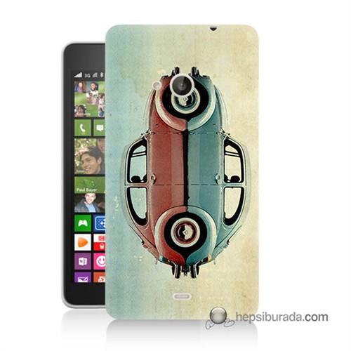 Teknomeg Nokia Lumia 535 Kılıf Kapak Mavi Kırmızı Wolkswagen Baskılı Silikon