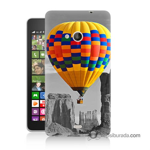 Teknomeg Nokia Lumia 535 Kılıf Kapak Renkli Uçan Balon Baskılı Silikon
