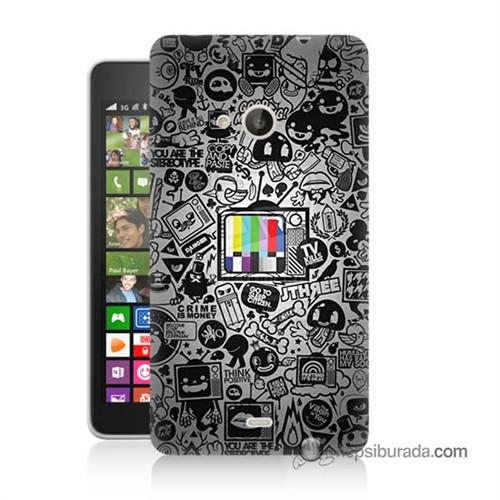 Teknomeg Nokia Lumia 535 Kapak Kılıf Renkli Tv Baskılı Silikon