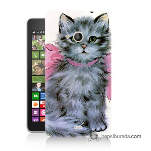 Teknomeg Nokia Lumia 535 Kılıf Kapak Papyonlu Kedi Baskılı Silikon