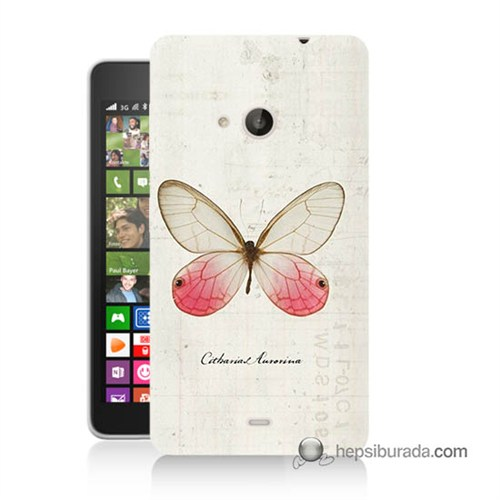 Teknomeg Nokia Lumia 535 Kapak Kılıf Kelebek Etkisi Baskılı Silikon