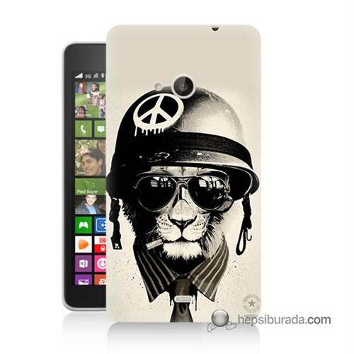 Teknomeg Nokia Lumia 535 Kılıf Kapak Barışçı Aslan Baskılı Silikon