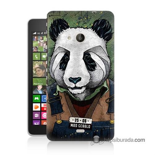 Teknomeg Nokia Lumia 535 Kapak Kılıf İşçi Panda Baskılı Silikon