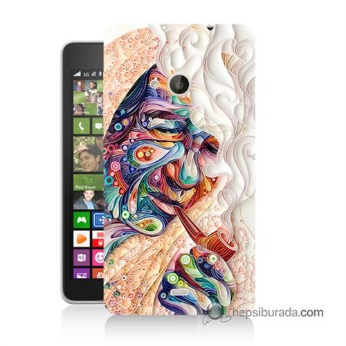 Teknomeg Nokia Lumia 535 Kılıf Kapak Kağıt Sanatı Baskılı Silikon