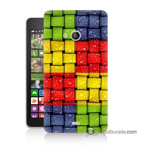 Teknomeg Nokia Lumia 535 Kılıf Kapak Renkli Sargılar Baskılı Silikon