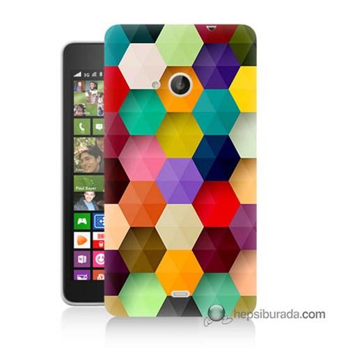 Teknomeg Nokia Lumia 535 Kapak Kılıf Renkli Petek Baskılı Silikon