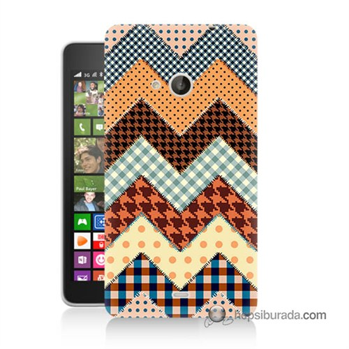 Teknomeg Nokia Lumia 535 Kapak Kılıf Patchwork Baskılı Silikon