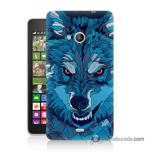 Teknomeg Nokia Lumia 535 Kılıf Kapak Mavi Kurt Baskılı Silikon