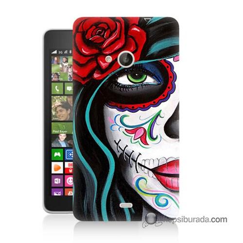 Teknomeg Nokia Lumia 535 Kılıf Kapak Çiçekli Kız Baskılı Silikon