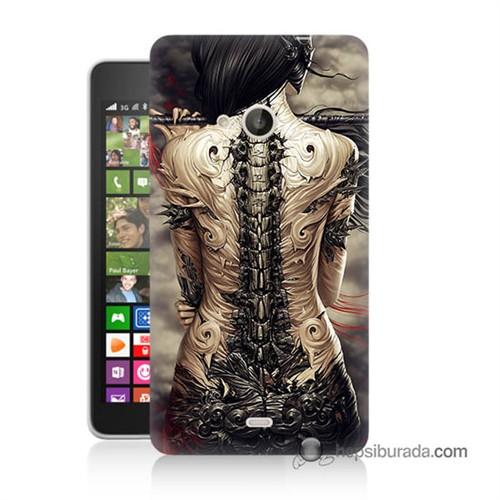 Teknomeg Nokia Lumia 535 Kılıf Kapak Mekanik Kız Baskılı Silikon