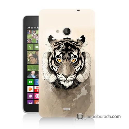 Teknomeg Nokia Lumia 535 Kapak Kılıf Beyaz Aslan Baskılı Silikon