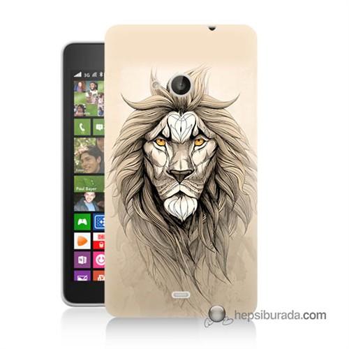 Teknomeg Nokia Lumia 535 Kılıf Kapak Beyaz Aslan Baskılı Silikon
