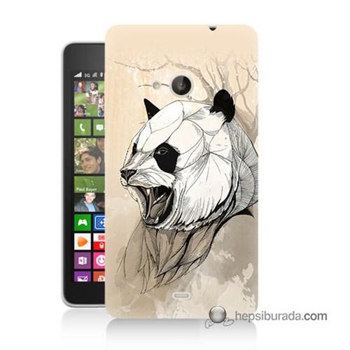 Teknomeg Nokia Lumia 535 Kapak Kılıf Kavgacı Panda Baskılı Silikon
