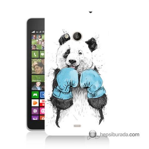 Teknomeg Nokia Lumia 535 Kılıf Kapak Boksör Panda Baskılı Silikon