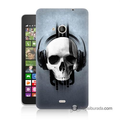 Teknomeg Nokia Lumia 535 Kılıf Kapak Müzik Dinleyen Kurukafa Baskılı Silikon
