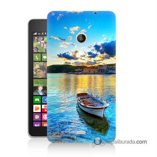 Teknomeg Nokia Lumia 535 Kılıf Kapak Gün Batımında Deniz Baskılı Silikon