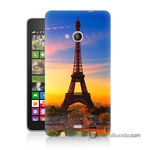Teknomeg Nokia Lumia 535 Kapak Kılıf Eyfelde Gün Batımı Baskılı Silikon