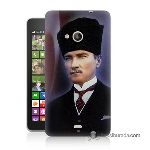 Teknomeg Nokia Lumia 535 Kılıf Kapak Mustafa Kemal Atatürk Baskılı Silikon