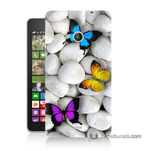 Teknomeg Nokia Lumia 535 Kılıf Kapak Kelebekler Baskılı Silikon