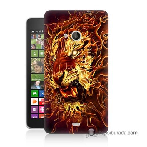 Teknomeg Nokia Lumia 535 Kılıf Kapak Ateşli Aslan Baskılı Silikon