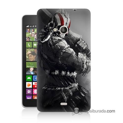 Teknomeg Nokia Lumia 535 Kılıf Kapak Tribal Warrior Baskılı Silikon