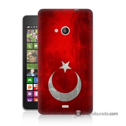 Teknomeg Nokia Lumia 535 Kılıf Kapak Türkiye Bayrağı Baskılı Silikon