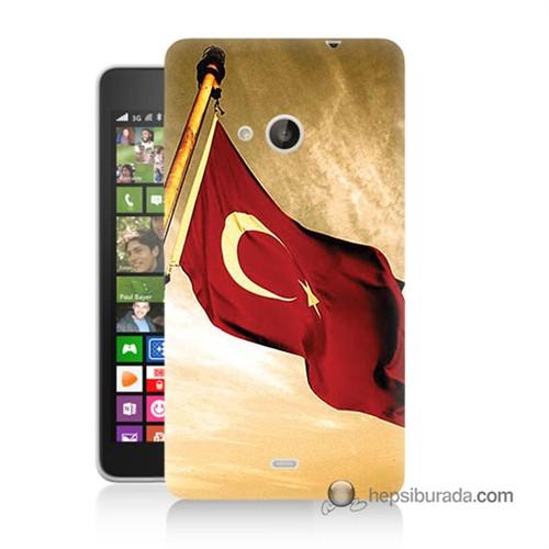 Teknomeg Nokia Lumia 535 Kılıf Kapak Türk Bayrağı Baskılı Silikon