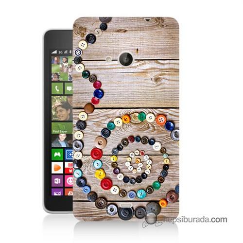 Teknomeg Nokia Lumia 535 Kapak Kılıf Düğmeler Baskılı Silikon