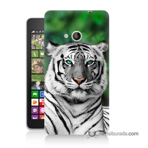 Teknomeg Nokia Lumia 535 Kılıf Kapak Beyaz Kaplan Baskılı Silikon