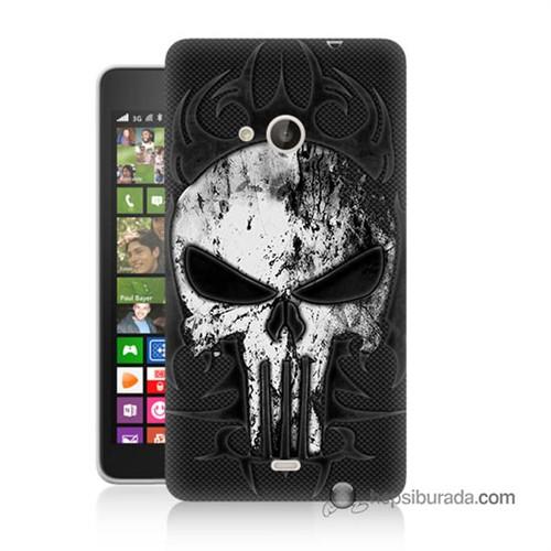 Teknomeg Nokia Lumia 535 Kapak Kılıf Punnisher Kurukafa Baskılı Silikon