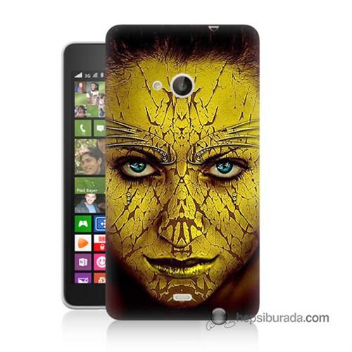 Teknomeg Nokia Lumia 535 Kapak Kılıf Sarı Kız Baskılı Silikon