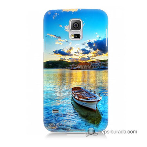 Teknomeg Samsung Galaxy S5 Mini Kılıf Kapak Gün Batımında Deniz Baskılı Silikon