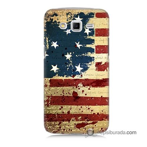 Teknomeg Samsung Galaxy Grand 2 Kılıf Kapak Amerika Bayrağı Baskılı Silikon